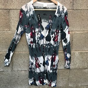 3.1 Phillip Lim Sheer Sweater Gray Print people L